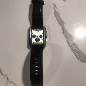 A|X Men's Black Leather Stainless Steel Watch